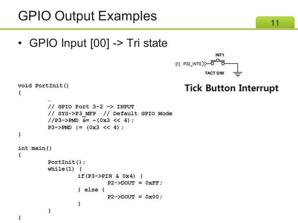 GPIO Output Examples GPIO Input [00] -> Tri state void PortInit() {